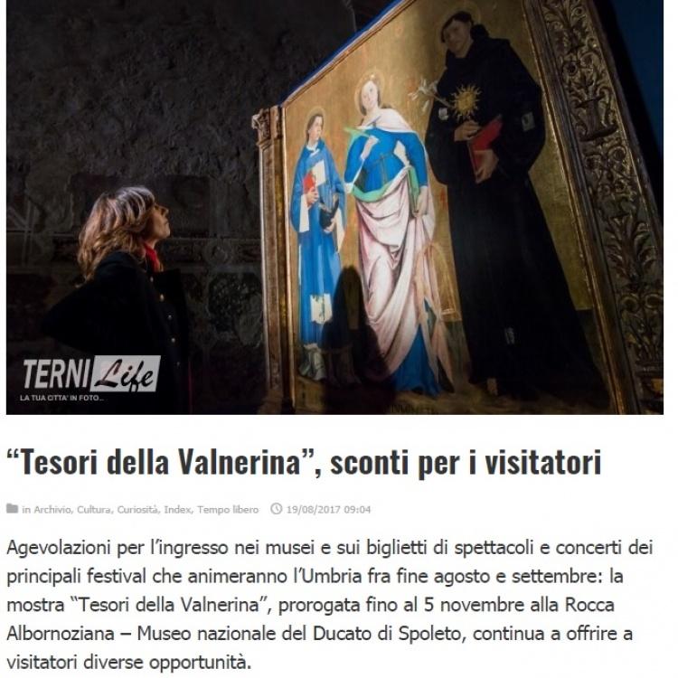 """Terni Life - """"Tesori della Valnerina"""", sconti per i visitatori"""